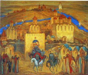 Александр Невский с дружиной. 1995. Холст, масло